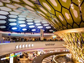 Abu Dhabi's bafflingly shiny airport interior.